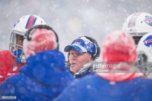 Head coach Sean McDermott of the Buffalo Bills speaks with players on the sideline during the second quarter against the Indianapolis Colts at New...