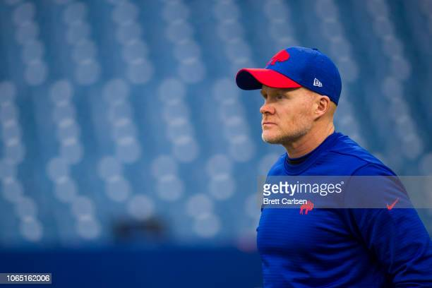 Head coach Sean McDermott of the Buffalo Bills walks on the field before the game against the Jacksonville Jaguars at New Era Field on November 25...