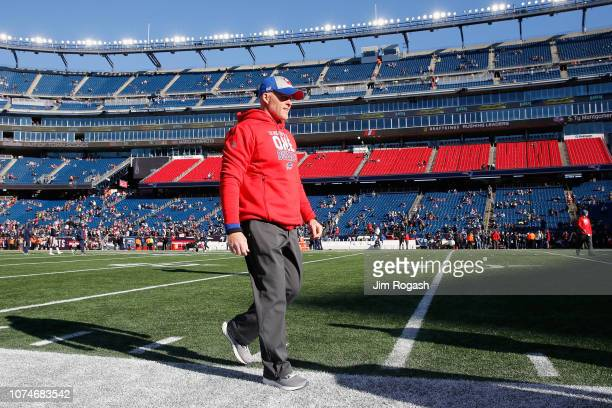 Head coach Sean McDermott of the Buffalo Bills walks on the field before the game against the New England Patriots at Gillette Stadium on December 23...