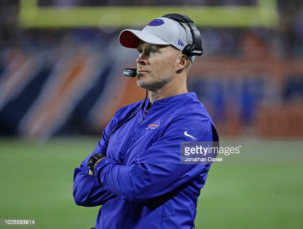 Head coach Sean McDermott of the Buffalo Bills watches as his team takes on the Chicago Bears during a preseason game at Soldier Field on August 30...