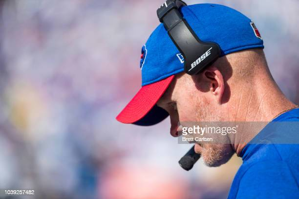 Head coach Sean McDermott of the Buffalo Bills watches game action during the second half against the Los Angeles Chargers at New Era Field on...
