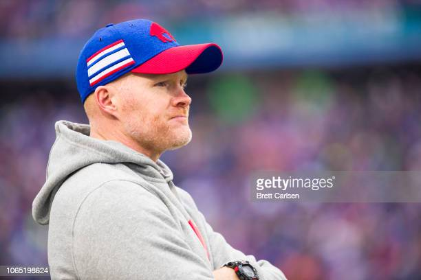 Head coach Sean McDermott of the Buffalo Bills watches game action during the first half against the Jacksonville Jaguars at New Era Field on...