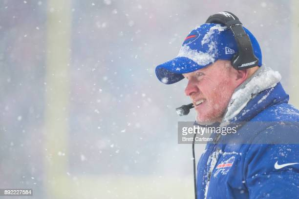 Head coach Sean McDermott of the Buffalo Bills watches game action during the second quarter against the Indianapolis Colts at New Era Field on...