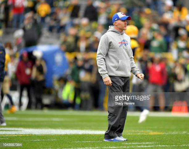 Head coach Sean McDermott of the Buffalo Bills watches his team warm up before a game against the Green Bay Packers at Lambeau Field on September 30...