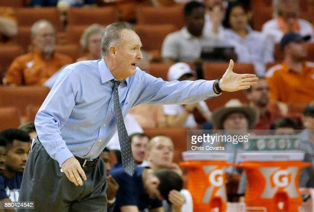 Head coach Sean McDonnell of the New Hampshire Wildcats reacts as his team plays the Texas Longhorns at the Frank Erwin Center on November 14 2017 in...