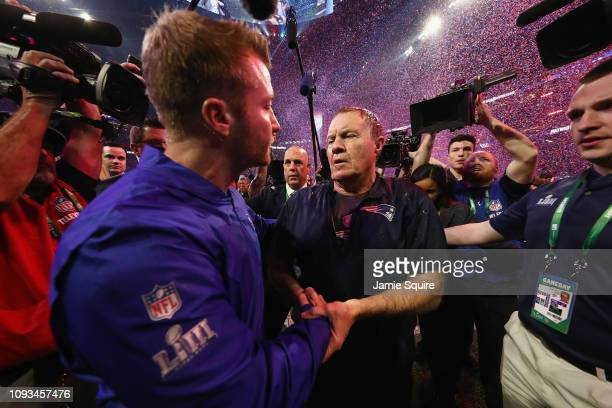 Head Coach Sean McVay of the Los Angeles Rams and Head Coach Bill Belichick of the New England Patriots shake hands at the end of the Super Bowl LIII...