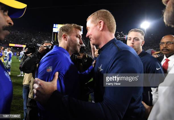 Head coach Sean McVay of the Los Angeles Rams and Head coach Jason Garrett of the Dallas Cowboys speak after the NFC Divisional Playoff game at Los...