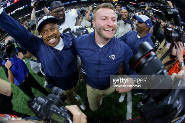 Head coach Sean McVay of the Los Angeles Rams celebrates after defeating the New Orleans Saints in the NFC Championship game at the MercedesBenz...