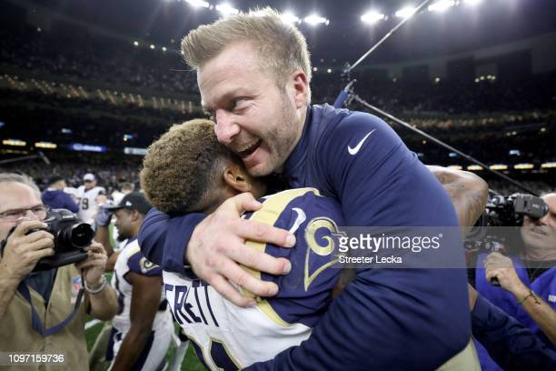 Head coach Sean McVay of the Los Angeles Rams celebrates Gerald Everett after defeating the New Orleans Saints in the NFC Championship game at the...