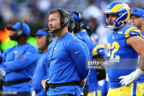 Head coach Sean McVay of the Los Angeles Rams during a game against the New York Giants at MetLife Stadium on October 17, 2021 in East Rutherford,...