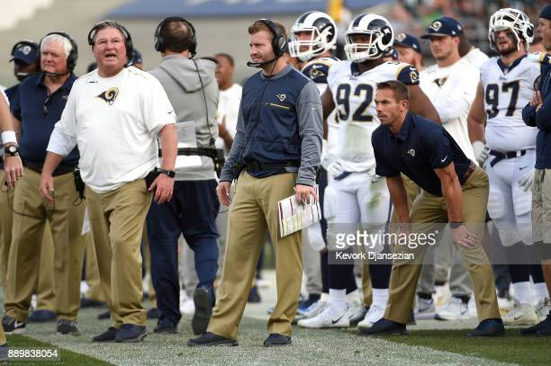 Head Coach Sean McVay of the Los Angeles Rams gives directions from the sidelines during the game against the Philadelphia Eagles at the Los Angeles...