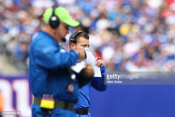 Head Coach Sean McVay of the Los Angeles Rams looks on from the sidelines against the New York Giants at MetLife Stadium on October 17, 2021 in East...