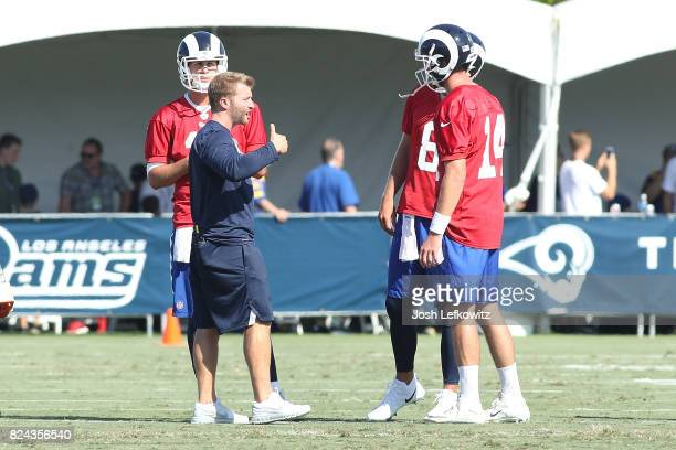 Head Coach Sean McVay of the Los Angeles Rams talks to the quaterbacks during during the first day of Training Camp at Crawford Field on July 29 2017...