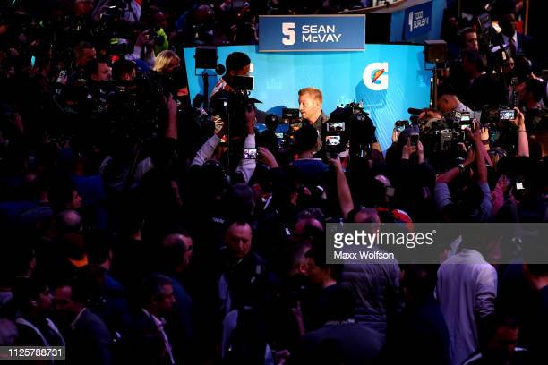 Head coach Sean McVay of the Los Angeles Rams talks to the media during Super Bowl LIII Opening Night at State Farm Arena on January 28 2019 in...