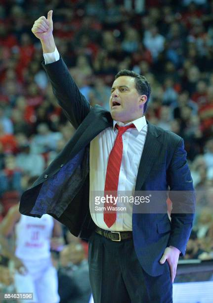 Head coach Sean Miller of the Arizona Wildcats calls a play during his team's game against the UNLV Rebels at the Thomas Mack Center on December 2...