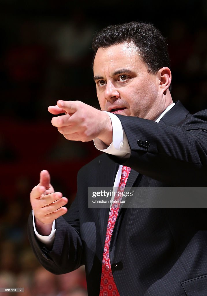 Head coach Sean Miller of the Arizona Wildcats directs his team during the college basketball game against the Long Beach State 49ers at McKale Center on November 19, 2012 in Tucson, Arizona. The Wildcats defeated the 49ers 94-72.