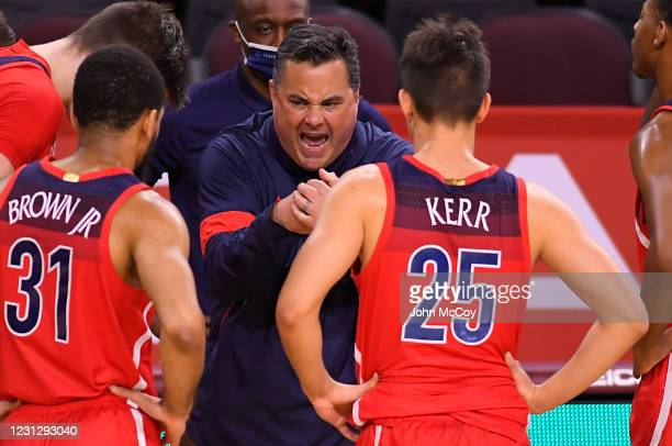Head coach Sean Miller of the Arizona Wildcats during a time out while playing the USC Trojansat Galen Center on February 20, 2021 in Los Angeles,...