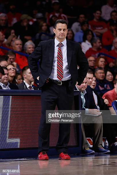 Head coach Sean Miller of the Arizona Wildcats during the college basketball game against the Oregon State Beavers at McKale Center on January 30...