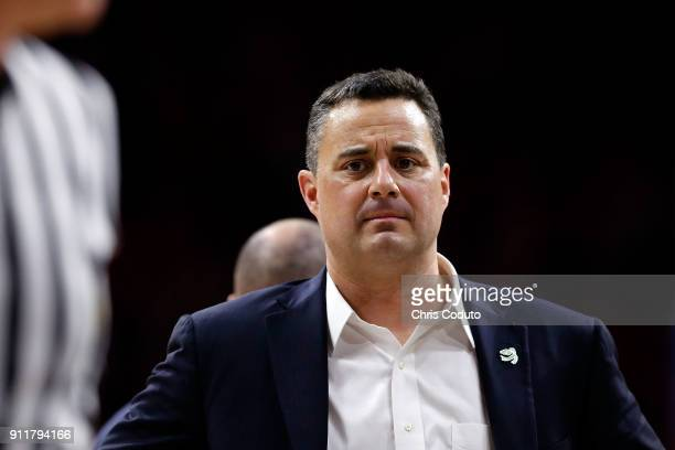 Head coach Sean Miller of the Arizona Wildcats during the second half of the college basketball game against the Utah Utes at McKale Center on...