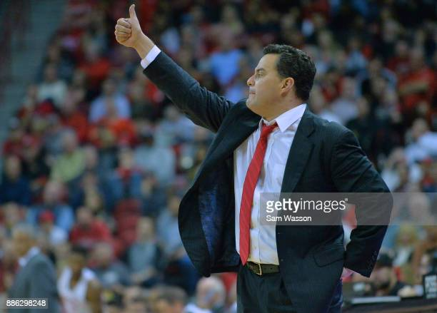 Head coach Sean Miller of the Arizona Wildcats gestures during his team's game against the UNLV Rebels at the Thomas Mack Center on December 2 2017...