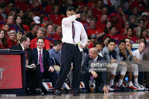 Head coach Sean Miller of the Arizona Wildcats gestures during the second half of the college basketball game at McKale Center on March 5 2016 in...