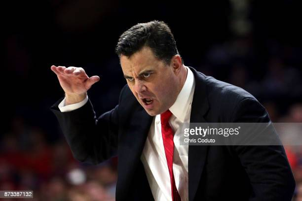 Head coach Sean Miller of the Arizona Wildcats gestures during the second half of the college basketball game against the UMBC Retrievers at McKale...