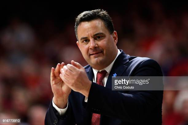 Head coach Sean Miller of the Arizona Wildcats gestures during the first half of the college basketball game against the USC Trojans at McKale Center...