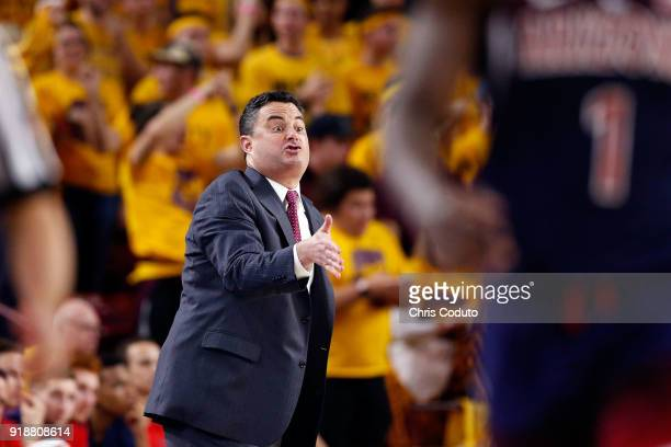 Head coach Sean Miller of the Arizona Wildcats gestures during the first half of the college basketball game against the Arizona State Sun Devils at...