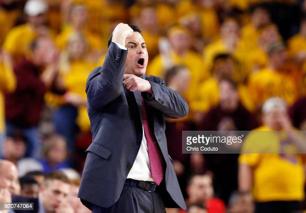 Head coach Sean Miller of the Arizona Wildcats gestures during the second half of the college basketball game against the Arizona State Sun Devils at...