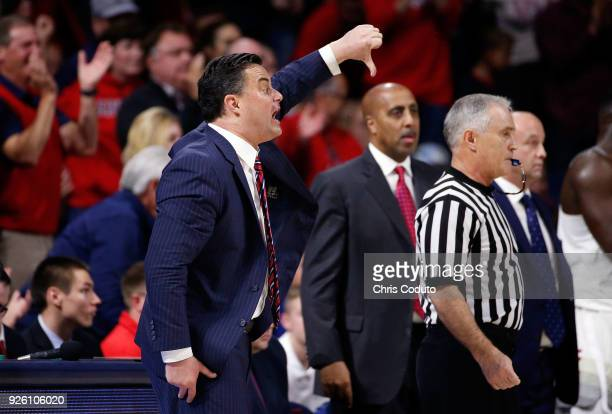 Head coach Sean Miller of the Arizona Wildcats gestures during the first half of the college basketball game against the Stanford Cardinal at McKale...