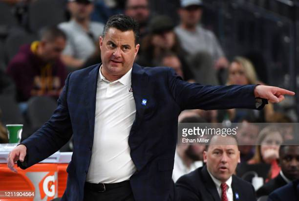 Head coach Sean Miller of the Arizona Wildcats gestures to his players as they take on the Washington Huskies during the first round of the Pac-12...