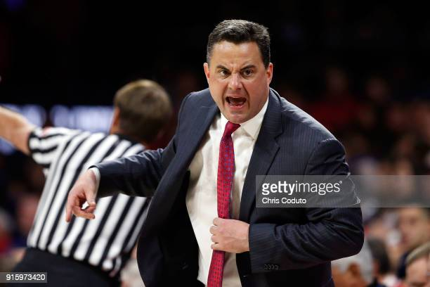 Head coach Sean Miller of the Arizona Wildcats gestures to the bench during the first half of the college basketball game against the UCLA Bruins at...