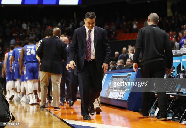 Head coach Sean Miller of the Arizona Wildcats leaves the court after being defeated by the Buffalo Bulls 8968 during the first round of the 2018...