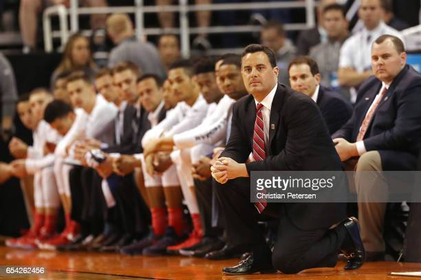 Head coach Sean Miller of the Arizona Wildcats looks on against the North Dakota Fighting Sioux during the first round of the 2017 NCAA Men's...