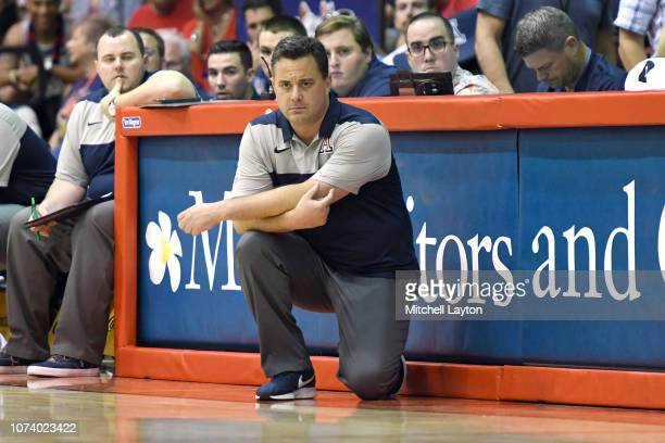 Head coach Sean Miller of the Arizona Wildcats looks on during a first round game of Maui Invitational college basketball game against the Iowa State...
