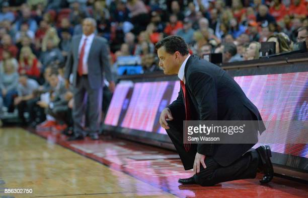 Head coach Sean Miller of the Arizona Wildcats looks on during his team's game against the UNLV Rebels at the Thomas Mack Center on December 2 2017...