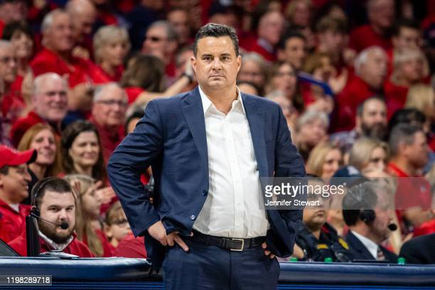 Head coach Sean Miller of the Arizona Wildcats looks on during the game against the Arizona Wildcats at McKale Center on January 04, 2020 in Tucson,...