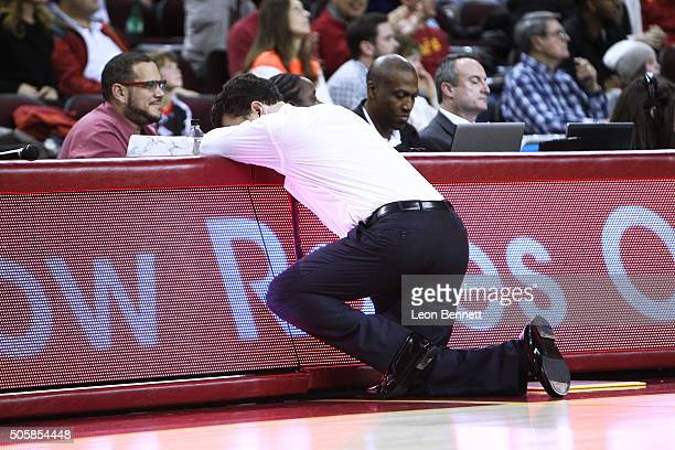 Head coach Sean Miller of the Arizona Wildcats not happy after a bad foul against the USC Trojans during a NCAA Pac12 college basketball game at...