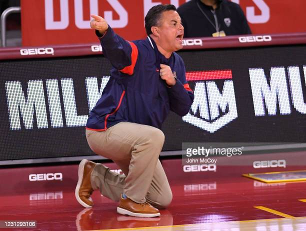 Head coach Sean Miller of the Arizona Wildcats on the sideline while playing the USC Trojansat Galen Center on February 20, 2021 in Los Angeles,...