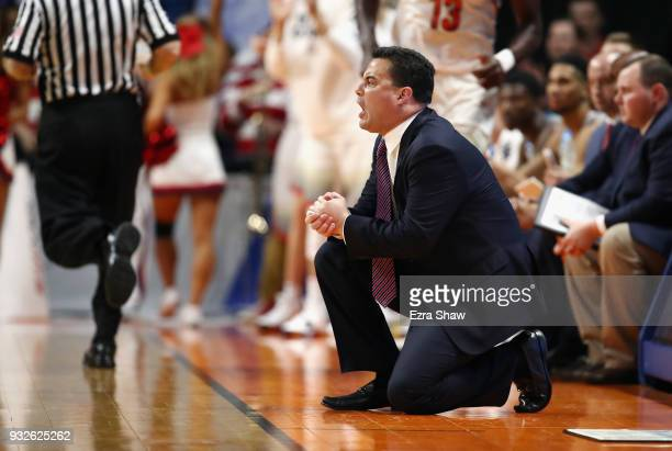 Head coach Sean Miller of the Arizona Wildcats reacts against the Buffalo Bulls during the first round of the 2018 NCAA Men's Basketball Tournament...