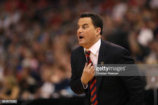 Head coach Sean Miller of the Arizona Wildcats reacts against the St Mary's Gaels during the second round of the 2017 NCAA Men's Basketball...