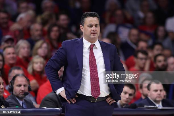 Head coach Sean Miller of the Arizona Wildcats reacts during the first half of the college basketball game against the Georgia Southern Eagles at...