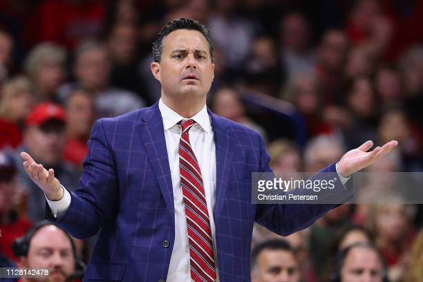Head coach Sean Miller of the Arizona Wildcats reacts during the second half of the NCAAB game against the Washington Huskies at McKale Center on...