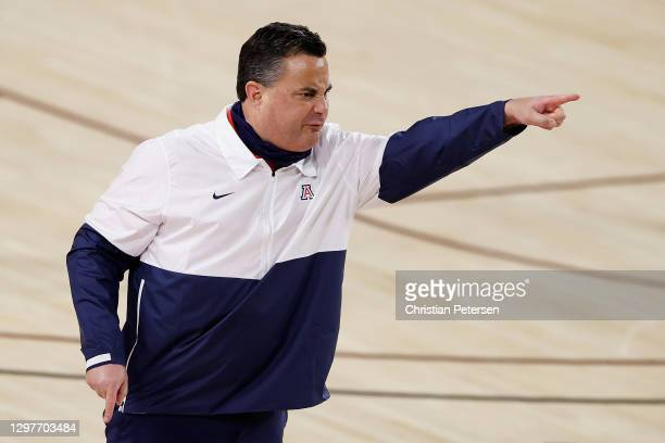 Head coach Sean Miller of the Arizona Wildcats reacts during the first half of the NCAAB game against the Arizona State Sun Devils at Desert...
