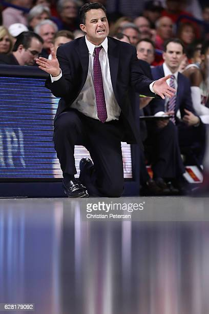 Head coach Sean Miller of the Arizona Wildcats reacts during the second half of the college basketball game against the UC Irvine Anteaters at McKale...