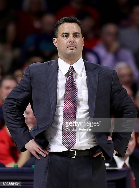 Head coach Sean Miller of the Arizona Wildcats reacts during the first half of the college basketball game against the Grand Canyon Lopes at McKale...