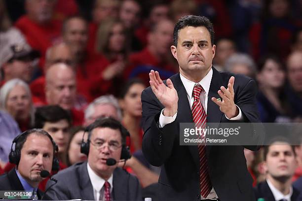 Head coach Sean Miller of the Arizona Wildcats reacts during the first half of the college basketball game against the Utah Utes at McKale Center on...