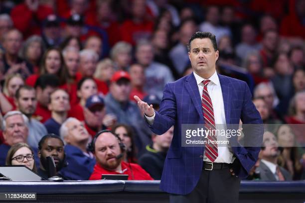 Head coach Sean Miller of the Arizona Wildcats reacts during the NCAAB game against the Washington Huskies at McKale Center on February 07, 2019 in...