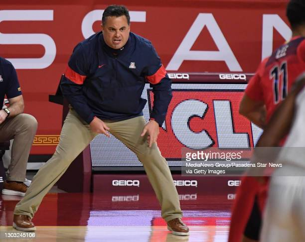 Head coach Sean Miller of the Arizona Wildcats reacts in the first half of a NCAA basketball game against the USC Trojans at the Galen Center in Los...