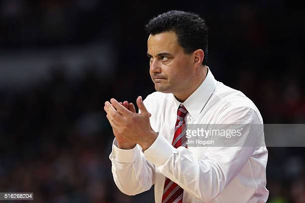 Head coach Sean Miller of the Arizona Wildcats reacts in the first half against the Wichita State Shockers during the first round of the 2016 NCAA...